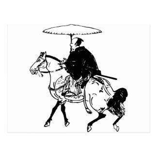 Samurai Riding a Horse with Umbrella, Black Line Postcard