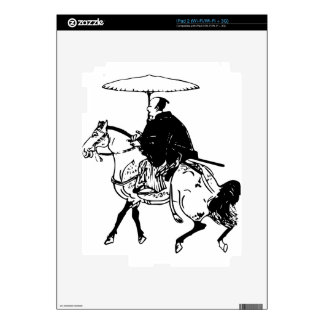 Samurai Riding a Horse with Umbrella, Black Line Skins For The iPad 2