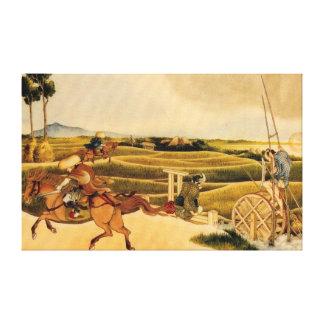 Samurai Riding On Horses Canvas Print
