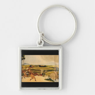 Samurai Riding On Horses Silver-Colored Square Keychain