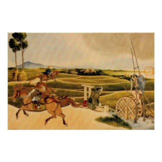 Samurai Riding On Horses Poster