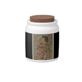 Samurai rodeado por retruécanos circa 1722 jarra para caramelo