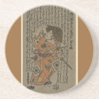 Samurai rodeado por retruécanos circa 1722 posavasos para bebidas