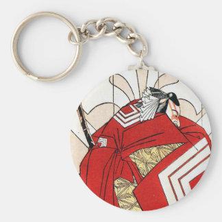 Samurai rojo japonés tradicional oriental fresco llaveros personalizados