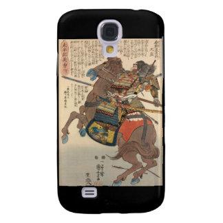 Samurai sangriento en armadura llena en un caballo