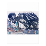 Samurai, Skeleton Painting circa 1800's Japan Post Cards