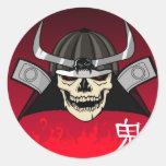 Samurai Skull Round Sticker