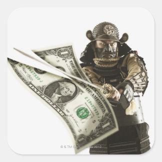 Samurai slicing dollar bill with sword square sticker