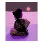 Samurai solo en el claro de luna rosado poster