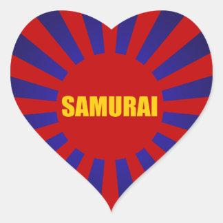samurai sun rising heart sticker