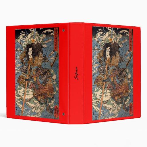 Samurai surfing on the backs of crabs c. 1800's 3 ring binder