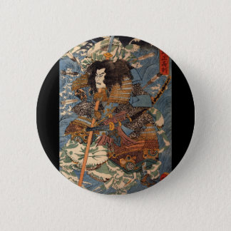 Samurai surfing on the backs of crabs c. 1800's button