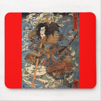 Samurai surfing on the backs of crabs c. 1800's mousepad
