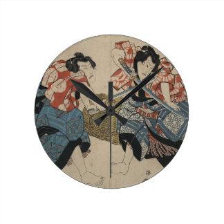 Samurai Sword Fight circa 1825 Round Wallclocks