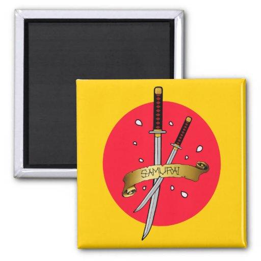 Samurai Sword Tattoo 2 Inch Square Magnet