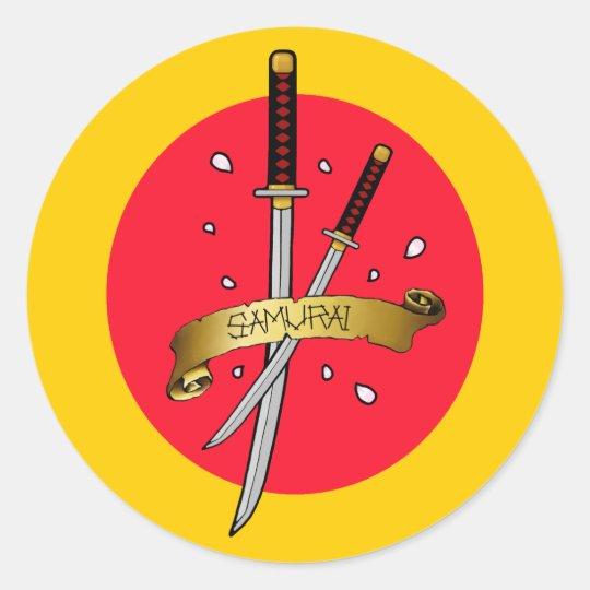 Samurai Sword Tattoo Classic Round Sticker