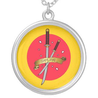 Samurai Sword Tattoo Round Pendant Necklace