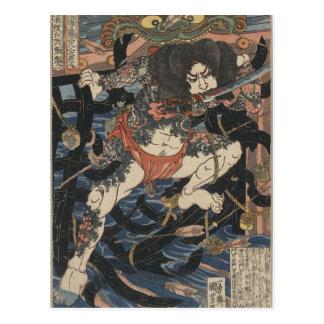 Samurai tatuado circa 1800s tarjeta postal