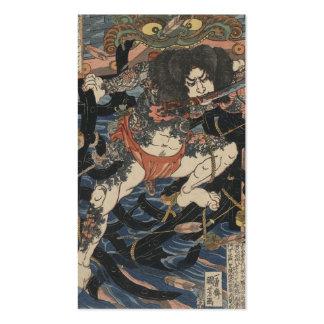 Samurai tatuado circa 1800s tarjetas de visita
