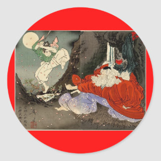 Samurai training with Tengu, Circa 1800's Classic Round Sticker