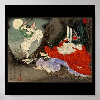 Samurai training with Tengu, Circa 1800's Poster