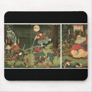 Samurai training with Tengu, Circa 1859 Mouse Pad