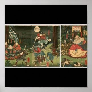 Samurai training with Tengu, Circa 1859 Poster