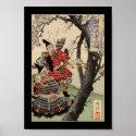 Samurai Viewing Cherry Blossoms circa 1885 Posters