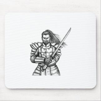 Samurai Warrior Fight Stance Tattoo Mouse Pad