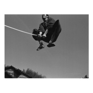 Samurai warrior jump attack with a sword 3 postcard