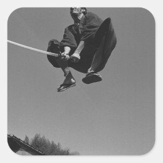 Samurai warrior jump attack with a sword 3 square stickers