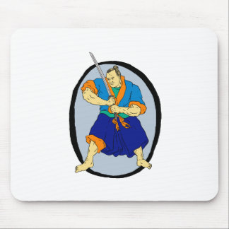 Samurai Warrior Katana Enso Mouse Pad