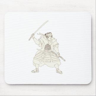 Samurai Warrior Katana Fight Stance Woodblock Mouse Pad