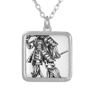 Samurai Warrior Square Pendant Necklace