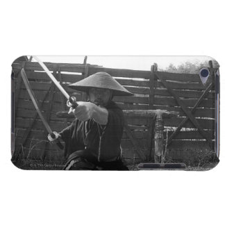 Samurai warrior strikes an attack with a sword 5 iPod Case-Mate cases