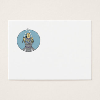 Samurai Warrior Two Swords Looking Up Circle Drawi Business Card