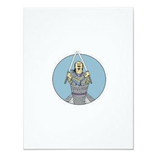 Samurai Warrior Two Swords Looking Up Circle Drawi Card