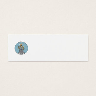 Samurai Warrior Two Swords Looking Up Circle Drawi Mini Business Card