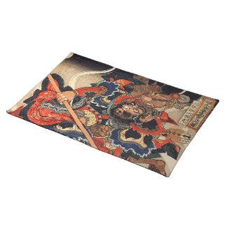 Samurai warrior vintage woodblock ukiyo-e cloth placemat
