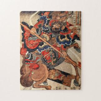 Samurai warrior vintage woodblock ukiyo-e jigsaw puzzle