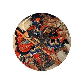 Samurai warrior vintage woodblock ukiyo-e round clock