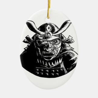 Samurai Warrior Wearing Mempo Woodcut Ceramic Ornament