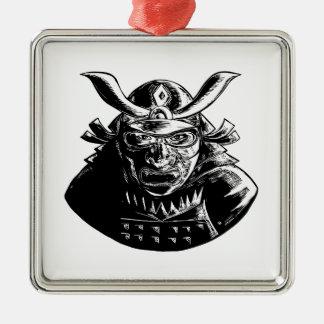 Samurai Warrior Wearing Mempo Woodcut Metal Ornament