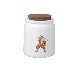 Samurai Warrior Wielding Katana Sword Cartoon Candy Jars
