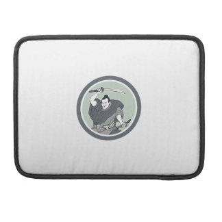 Samurai Warrior Wielding Katana Sword Circle Sleeves For MacBooks