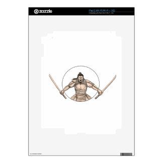 Samurai Warrior Wielding Two Swords Tattoo Skins For iPad 2