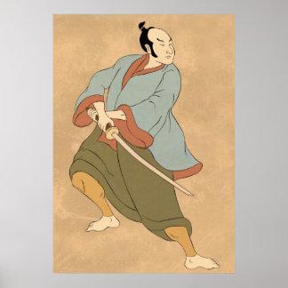 samurai warrior with katana sword fighting poster
