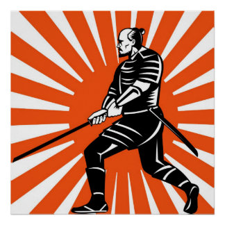 Samurai warrior with katana sword pointing side poster