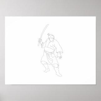 Samurai Warrior With Katana Sword Print