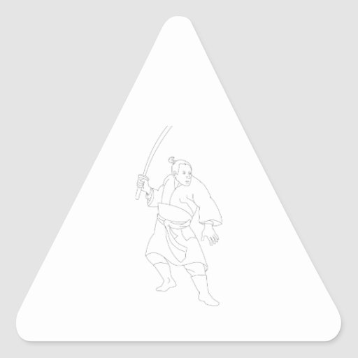 Samurai Warrior With Katana Sword Triangle Sticker